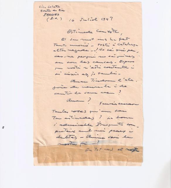 """Carta Casals: """"Quina serà la nostra fi?"""" (1)"""
