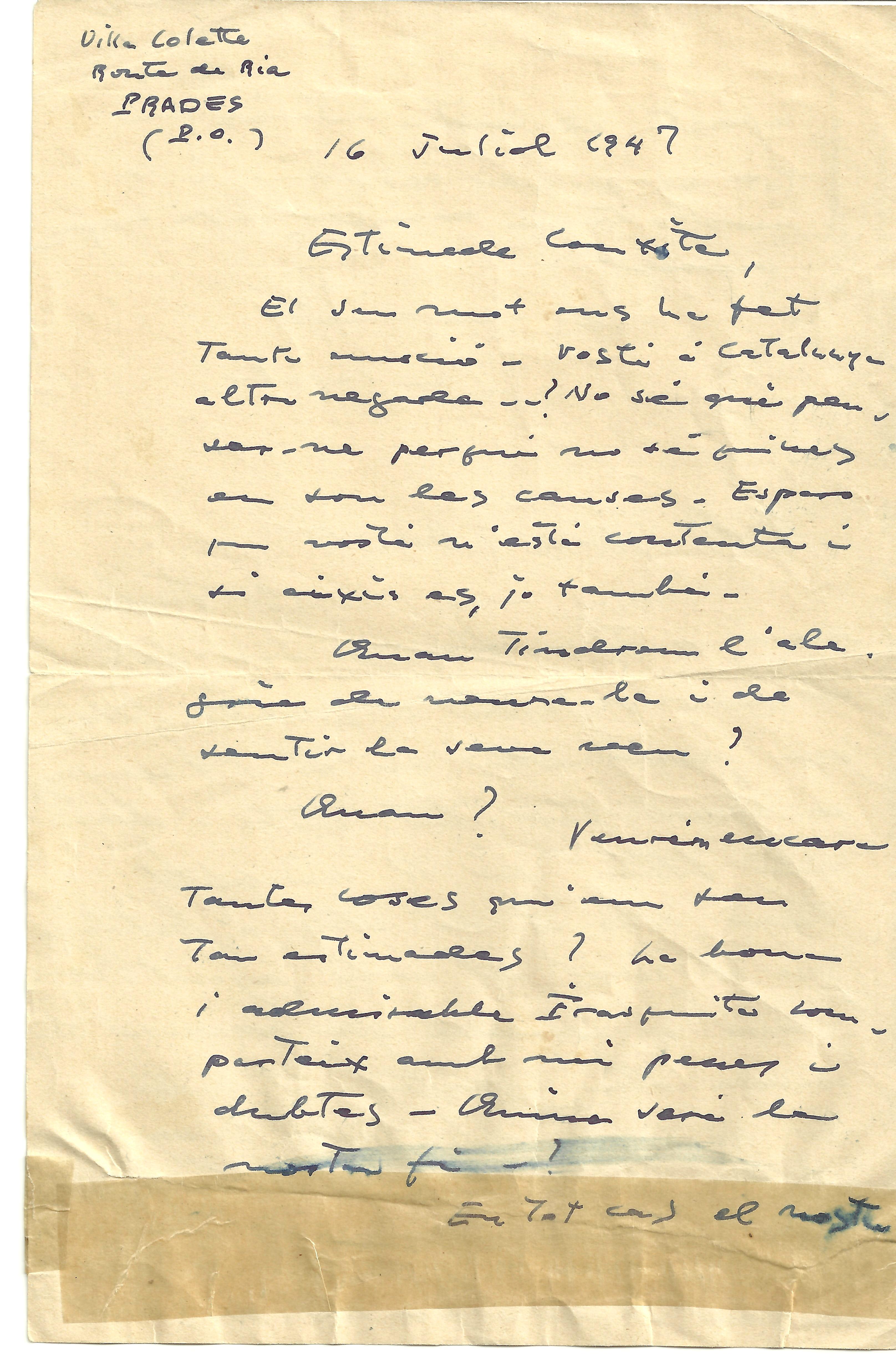 Carta que Pau Casals escriu a Conxita Badia (juliol 1947)