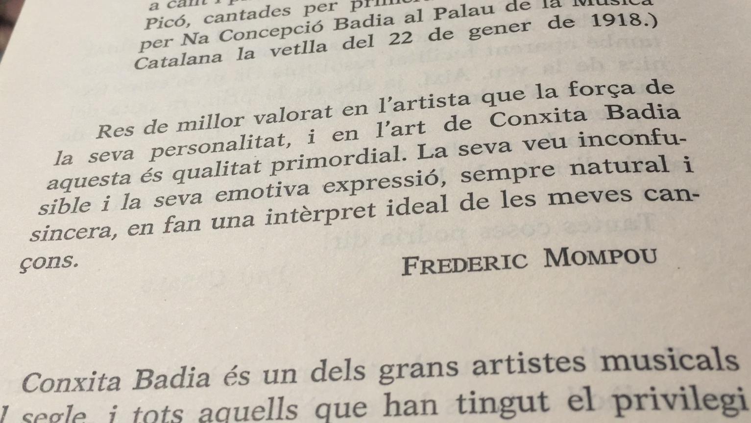 Conxita Badia, per Frederic Mompou